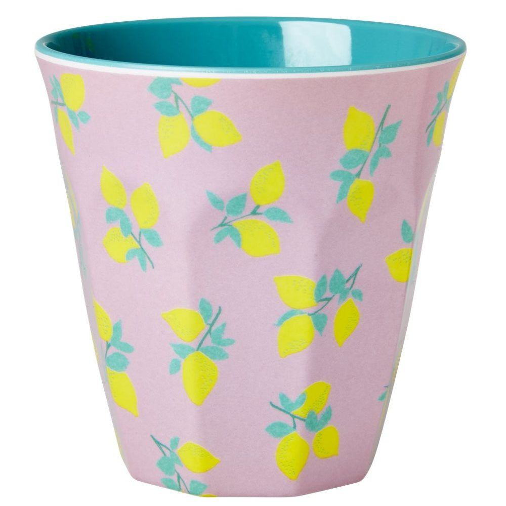 Medium Melamine Cup in Two Tone Lemon Print