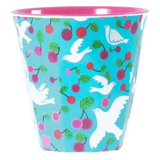 Medium Melamine Cup in Two Tone Dove Print