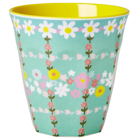 Medium Melamine Cup in Two Tone Retro Flower Print