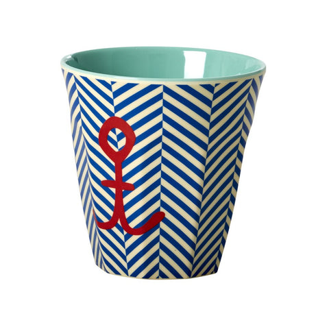 Medium Melamine Cup in Two Tone Stripe Anchor Print