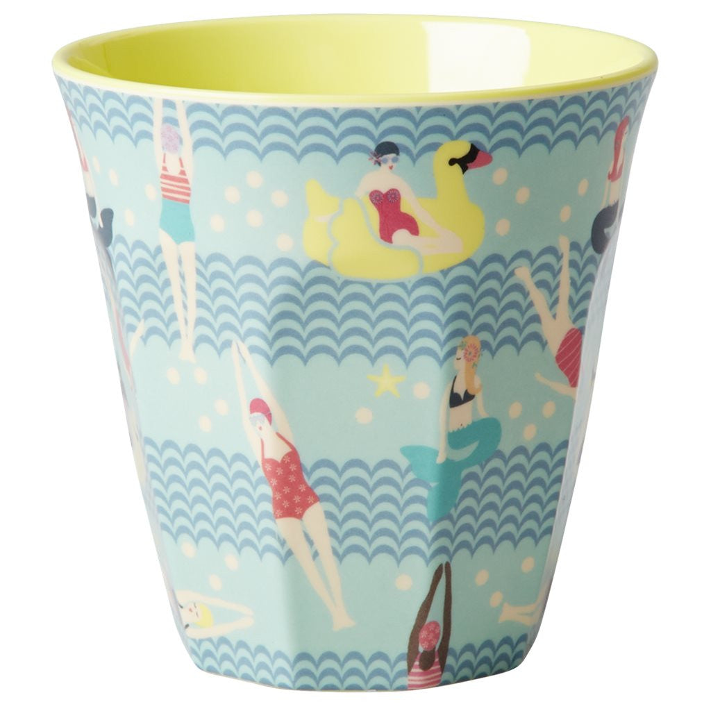 Medium Melamine Cup in Two Tone Mermaid and Swimster Print