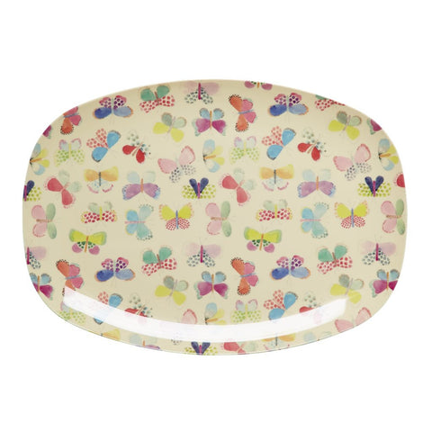 Rectangular Melamine Serving Plate in Butterfly Print
