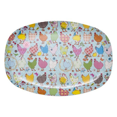 Rectangular Melamine Serving Plate in Hen Print