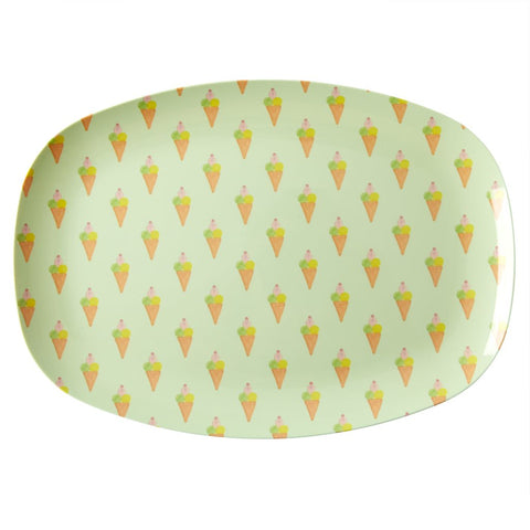 Rectangular Melamine Serving Plate in Ice Cream Print