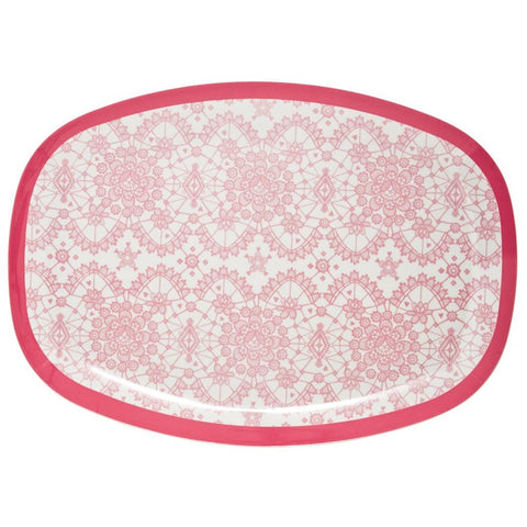 Rectangular Melamine Serving Plate in Lace Print