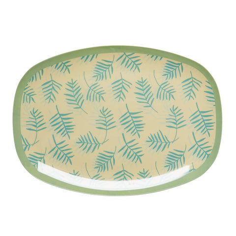 Rectangular Melamine Serving Plate in Palm Print