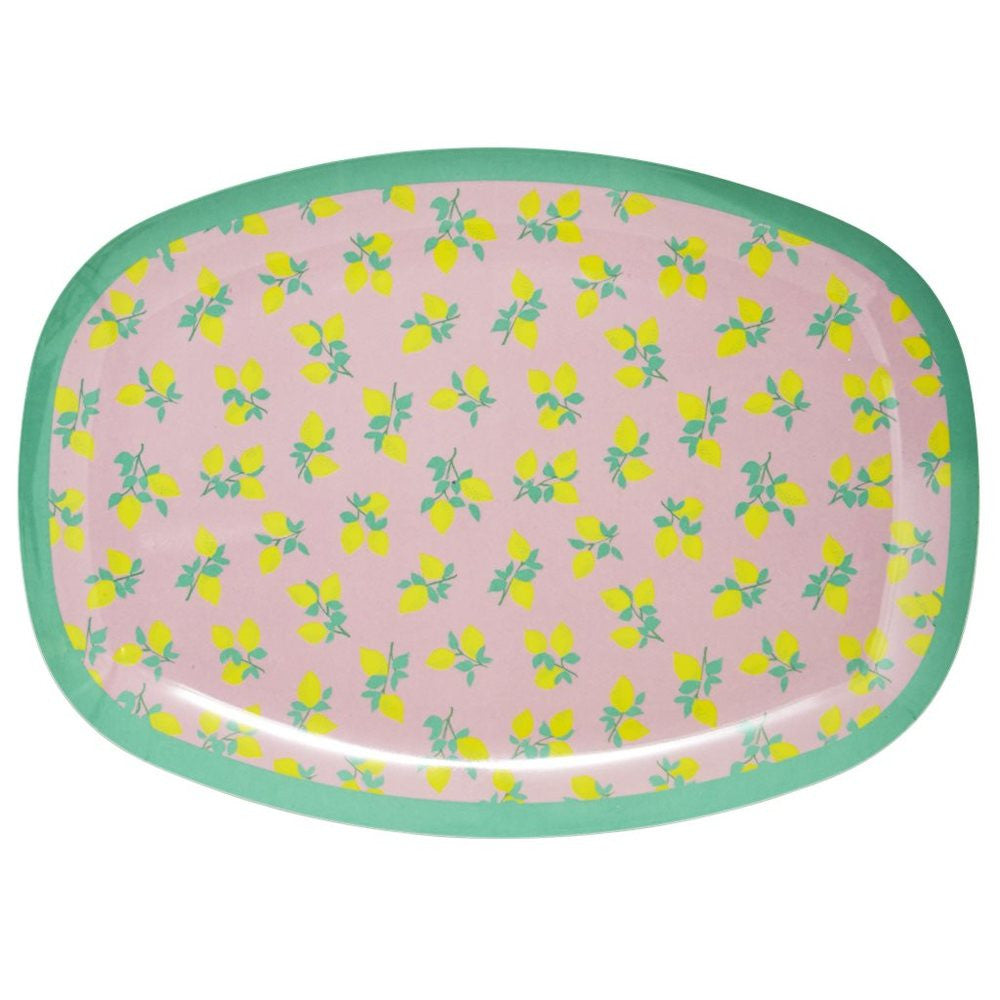Rectangular Melamine Serving Plate in Lemon Print