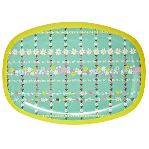 Rectangular Melamine Serving Plate in Retro Flower Print