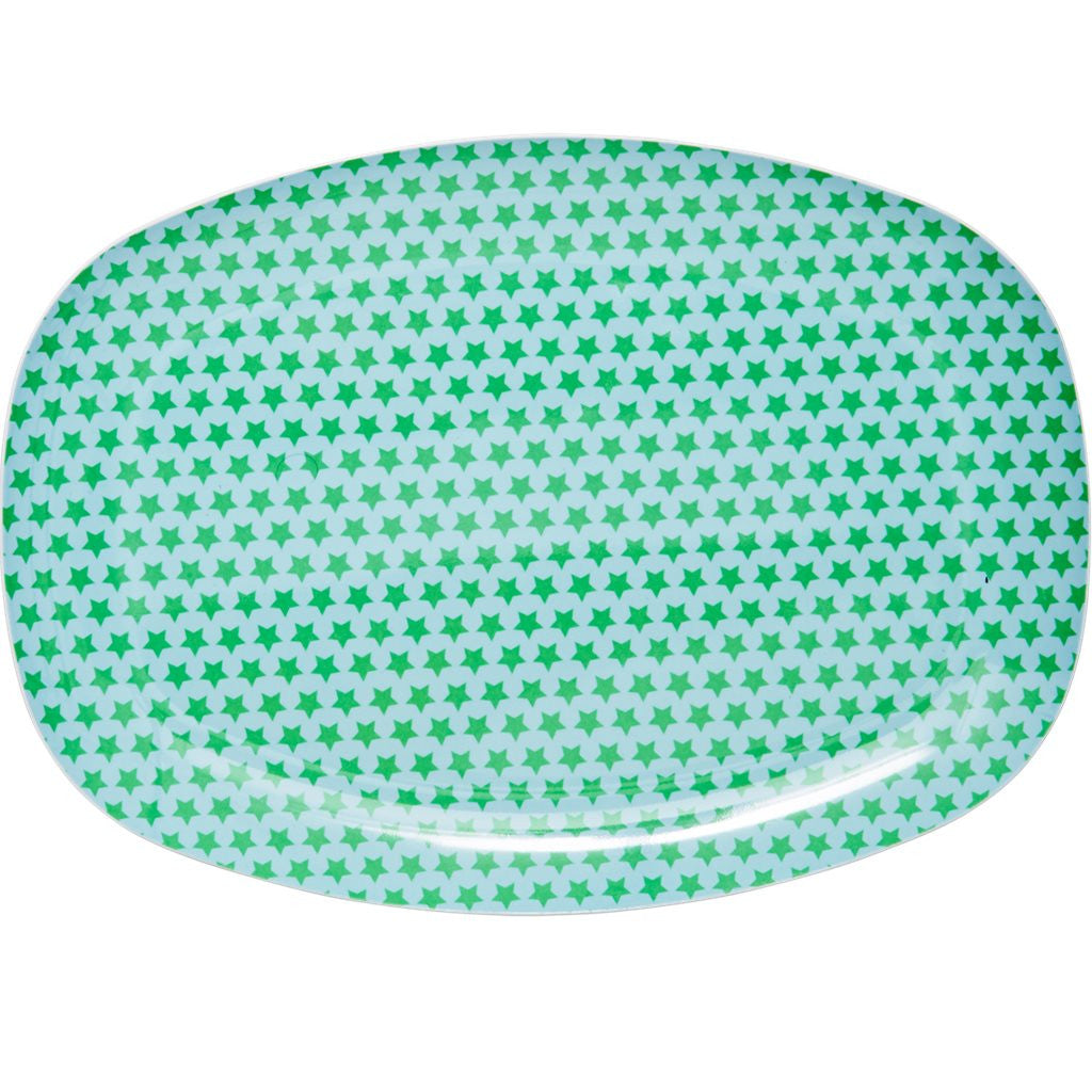 Rectangular Melamine Serving Plate in Star Print