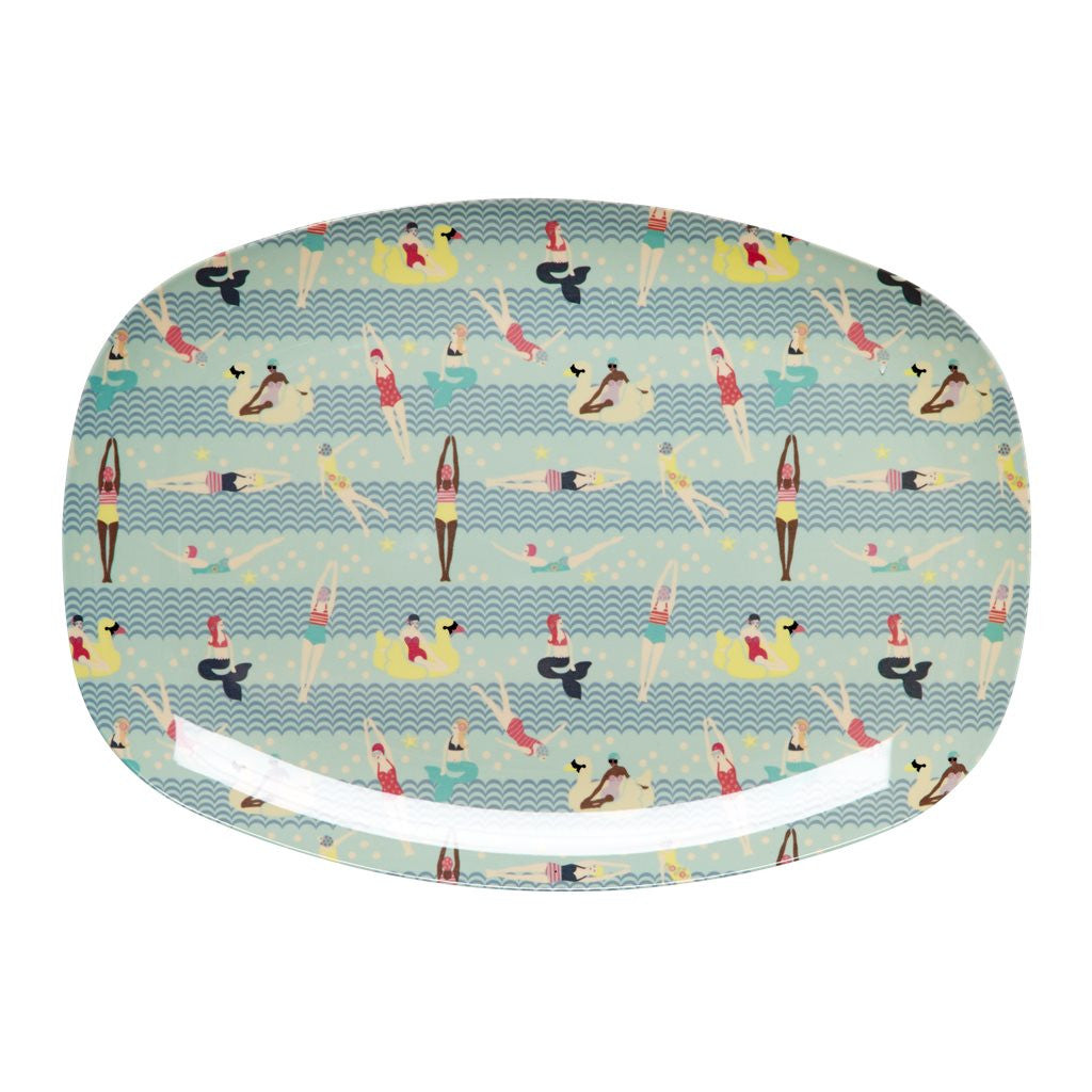Rectangular Melamine Serving Plate in Mermaid and Swimster Print