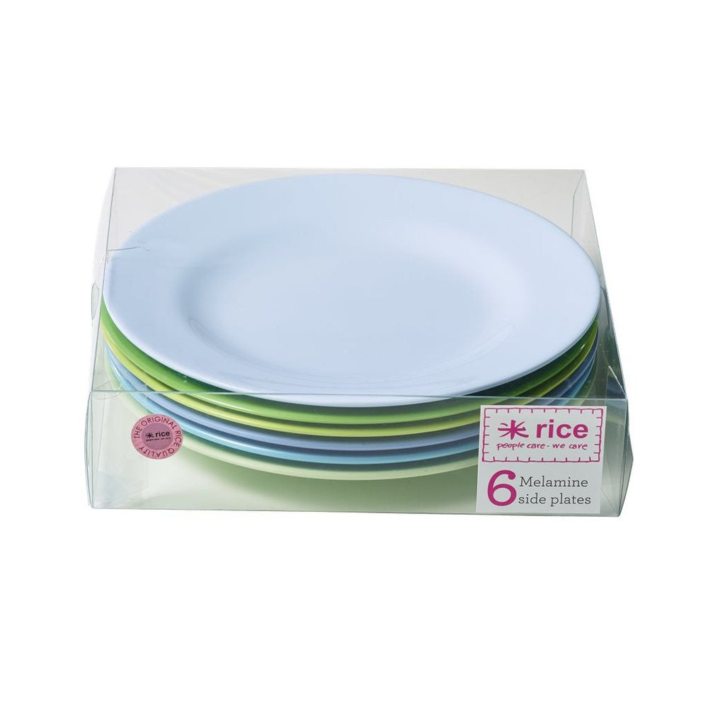 Small Melamine Plates in Blue and Green (6-pack)