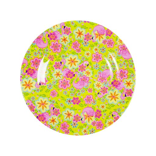 Toddler Small Round Melamine Plate in Flamingo Print