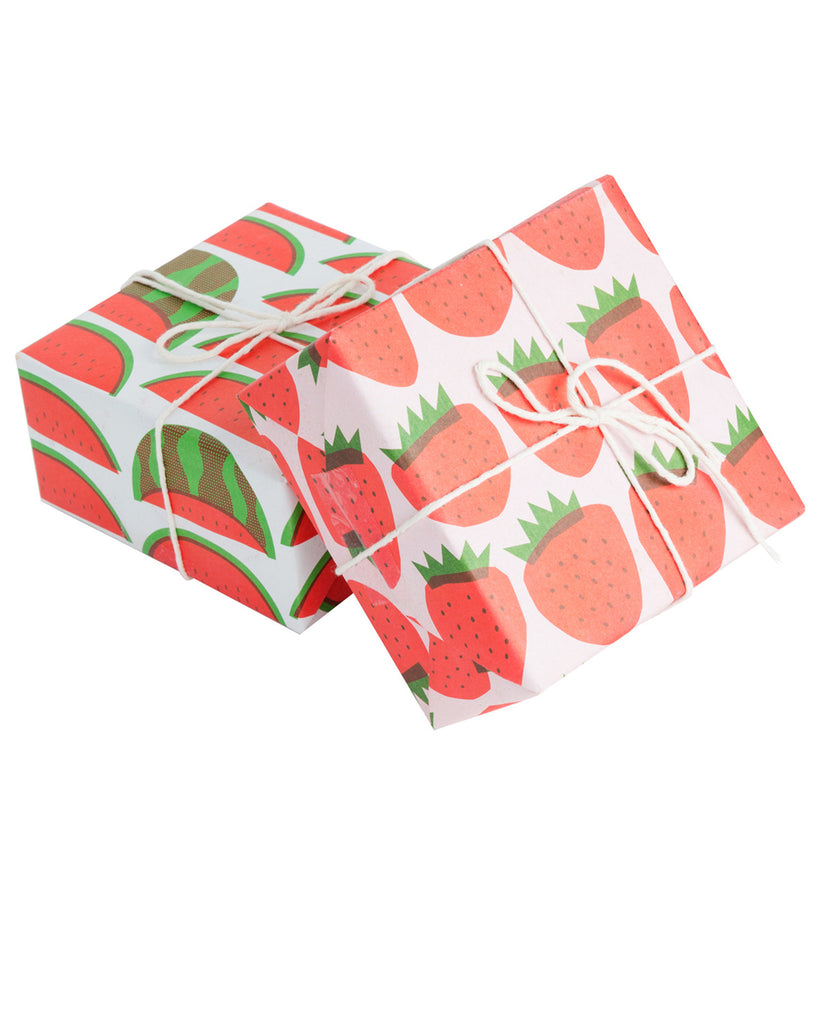 Wrapping Paper in Strawberries Print