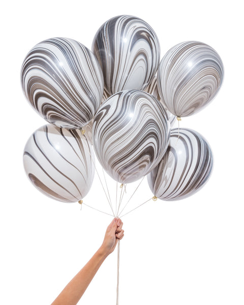 Marble Balloon Bouquet (8-pack) in Black & White