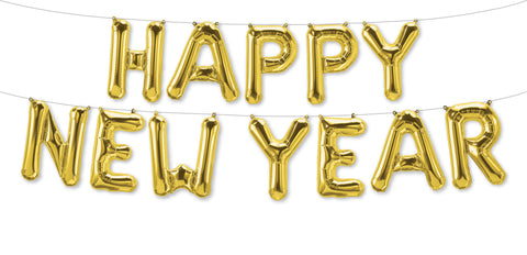 "16"" Gold ""Happy New Year"" Letter Balloon Garland"