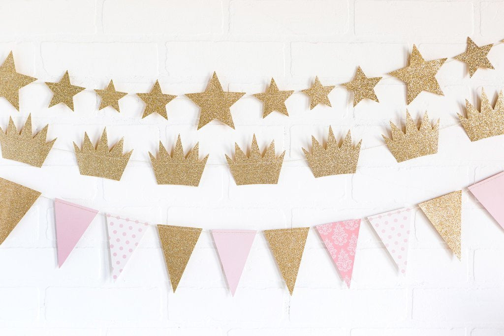 Gold Glitter and Pink Pennant Banner