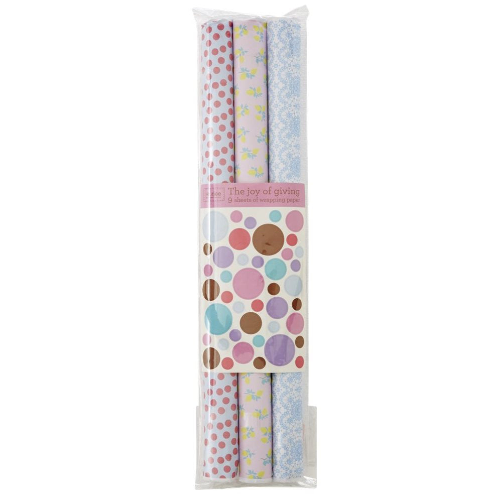 Wrapping Paper in Lemon, Lace & Dot Print