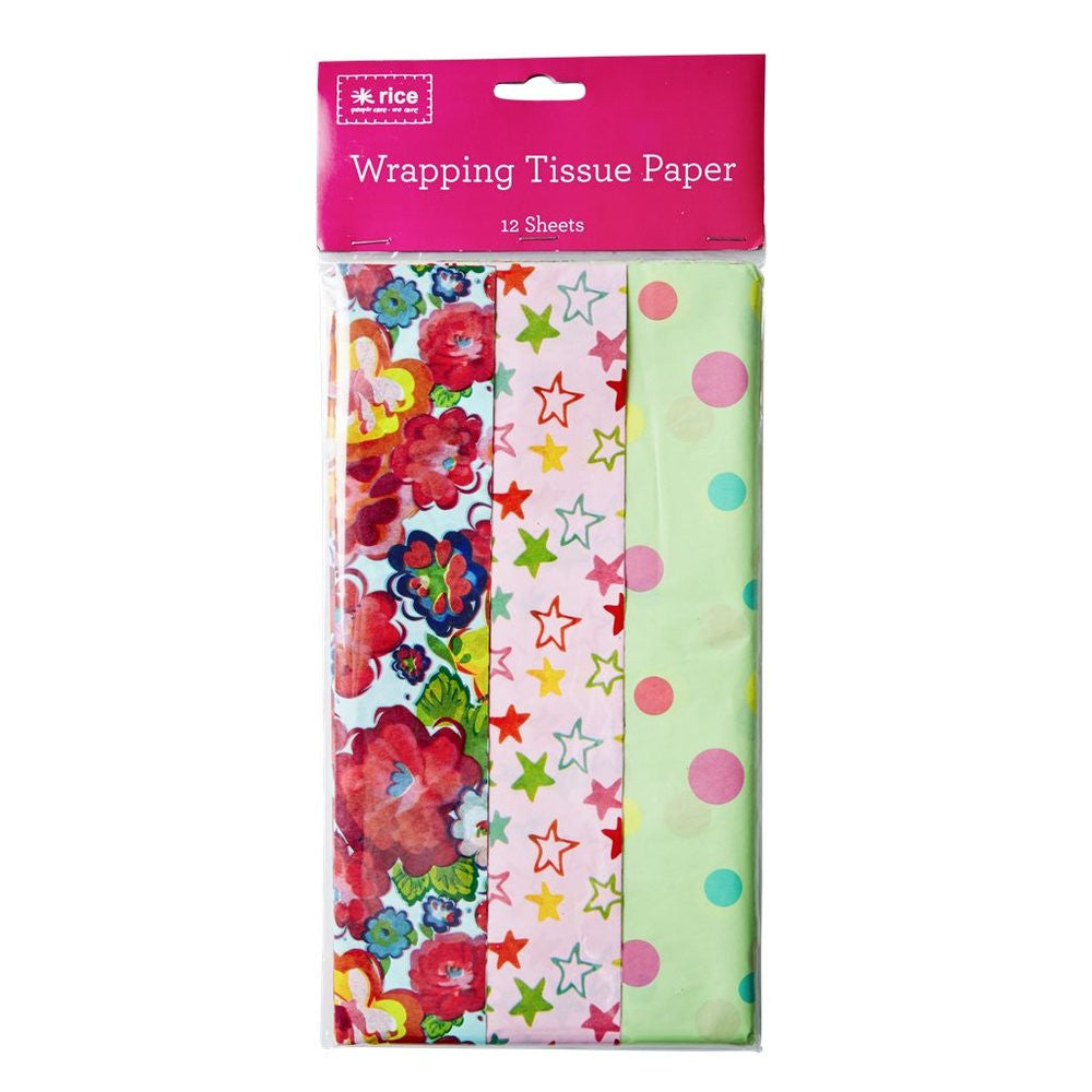 Flower, Star & Dot Tissue Paper