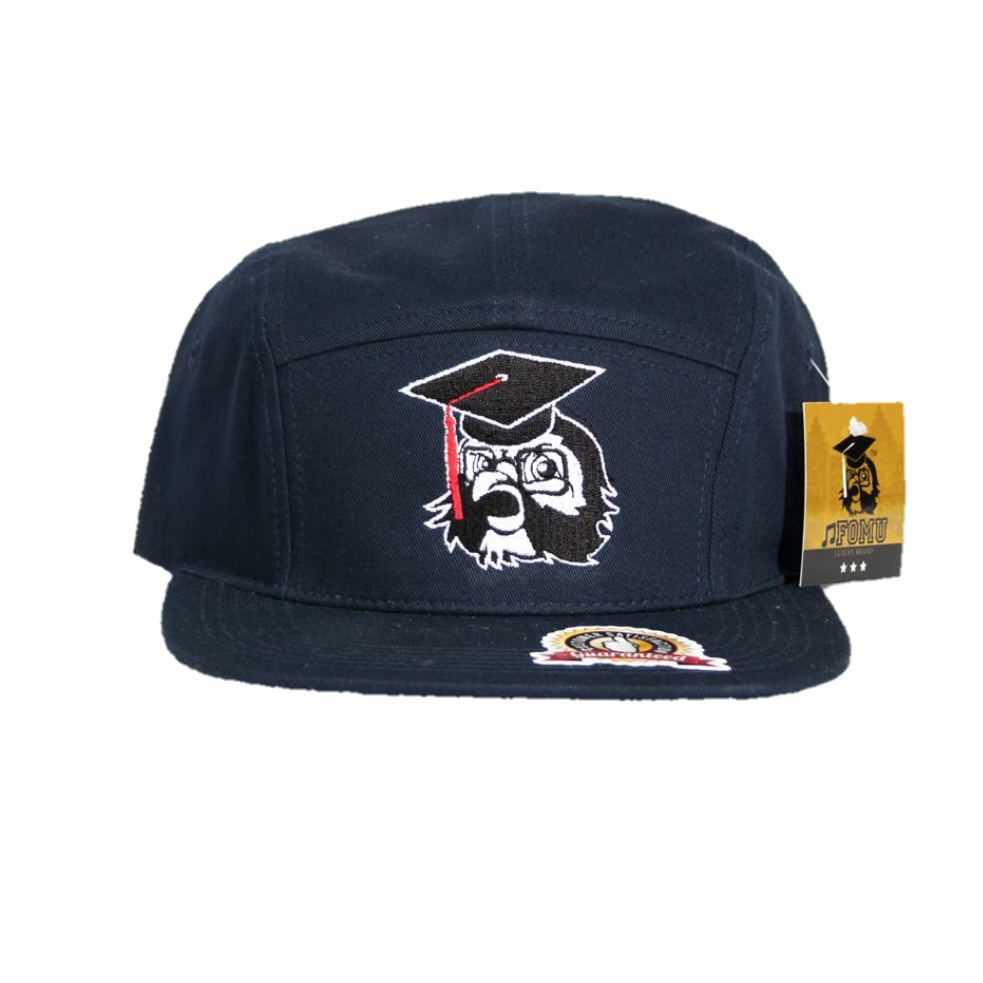 Navy Blue 5 Panel Strap Back