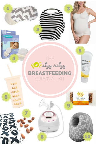 Essentials for breastfeeding survival kit