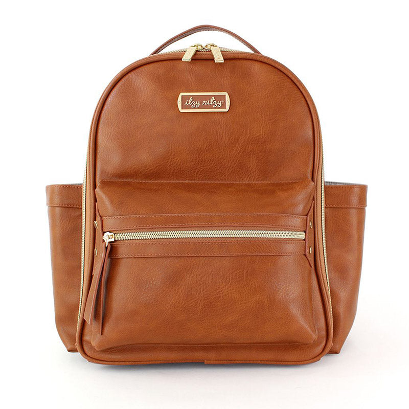 Cognac Itzy Mini Diaper Bag with vegan leather