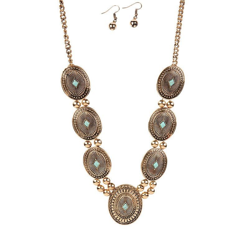 Concho-Antique-Gold-Turquoise-Neclace-Set