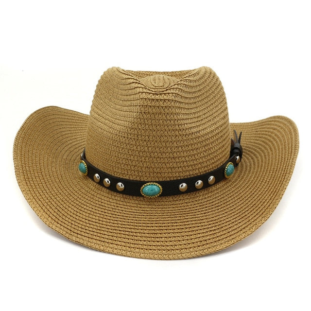 Western style straw hat in khaki color