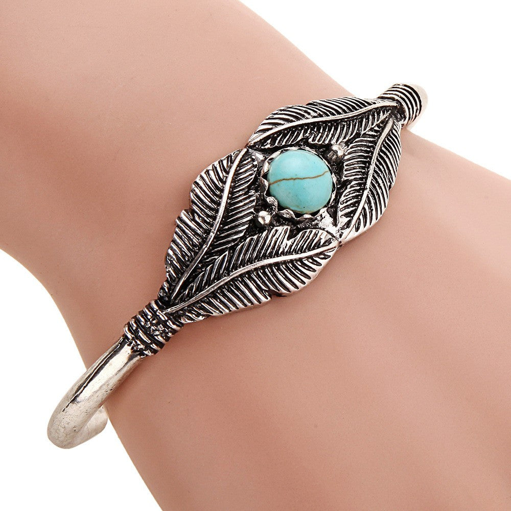 Feather-Silver-Turquoise-Bracelet