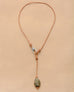 Pyrite stone and leather Y necklace