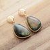 "West Coast Cowgirl Labradorite stud earrings.  1.75"" x .75"""