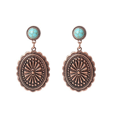 Copper round Concho with a turquoise resin stud earrings