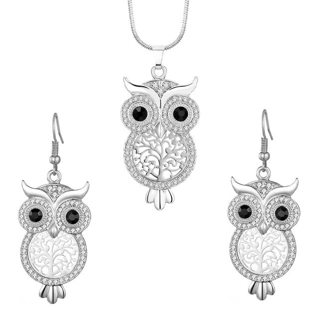 Silver Owl Necklace and Earring Set