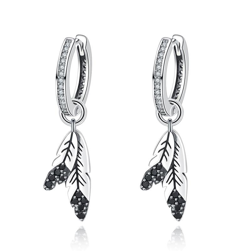 Sterling Silver hoops with crystal and hanging feathers