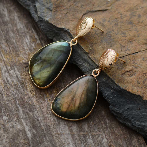 "Labradorite stud earrings.  1.75"" x .75"""