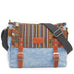 Denim fabric handbag with long shoulder strap