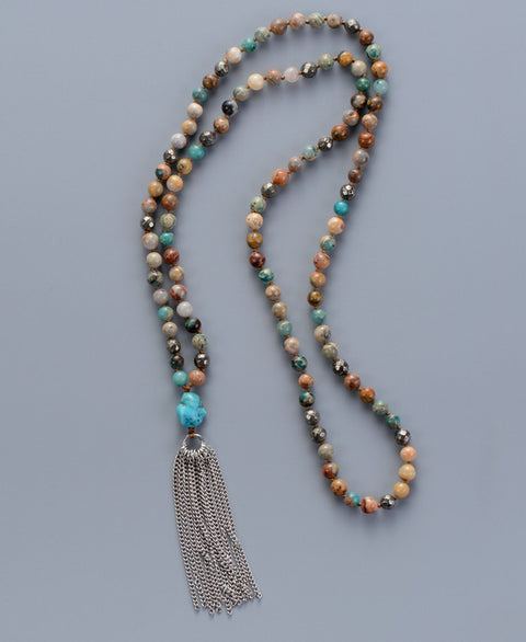 Tawny Stone Tassel Necklace