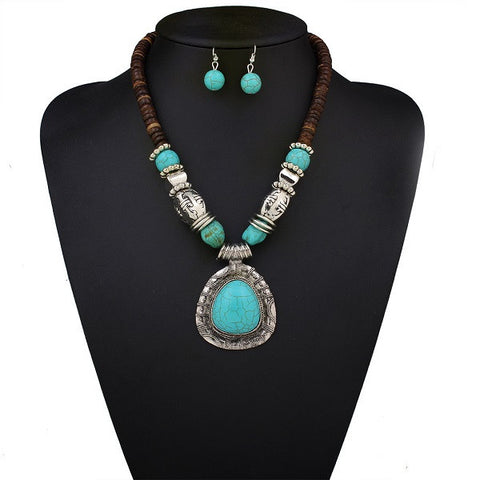 Statement-Necklace-Set-Turquoise-Wood-Silver-Earrings