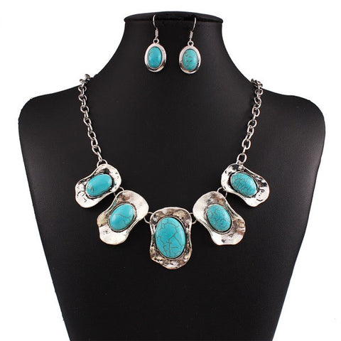 Silver-Turquoise-Plated-Necklace-Earring-Set