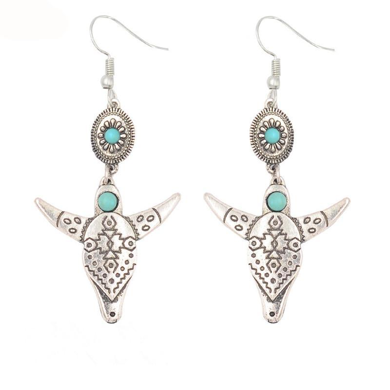 Silver Longhorn skull earrings with turquoise beads