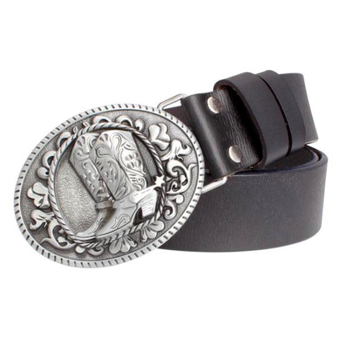 Black leather belt with cowboy boot belt buckle