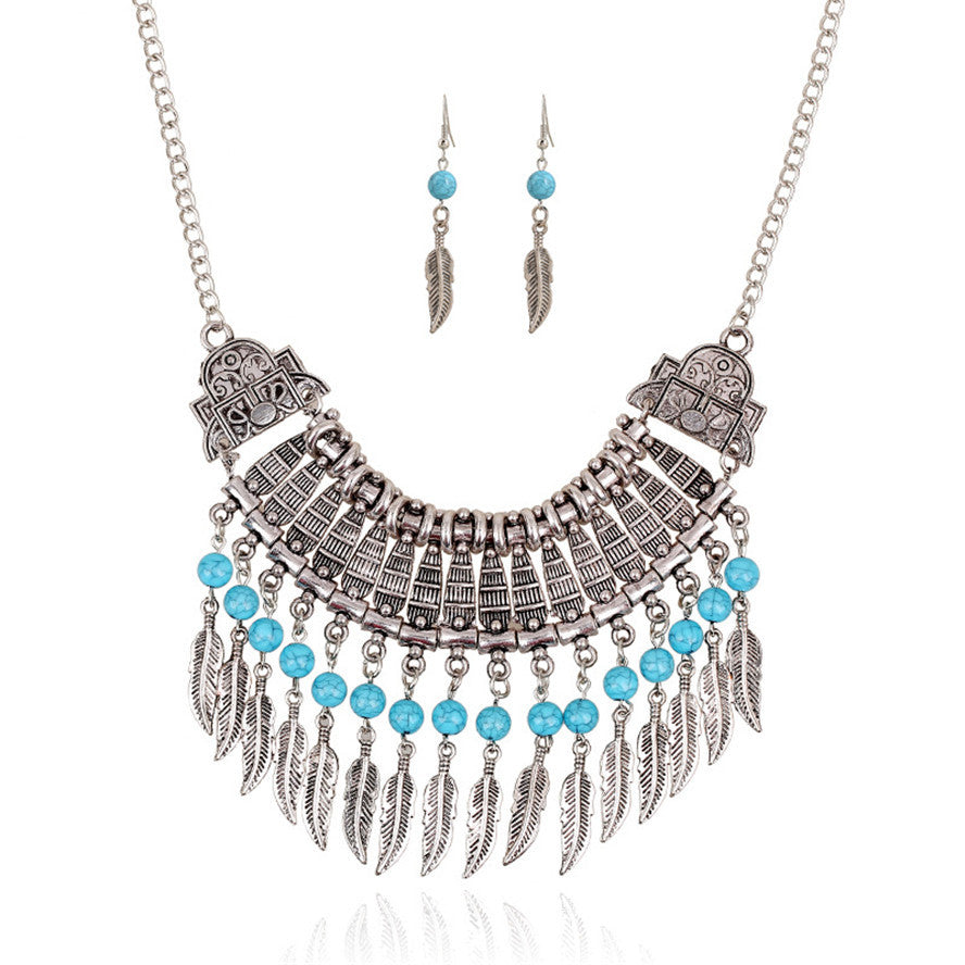 Silver-Turquoise-Feather-Fringe-Necklace-Earring-Set