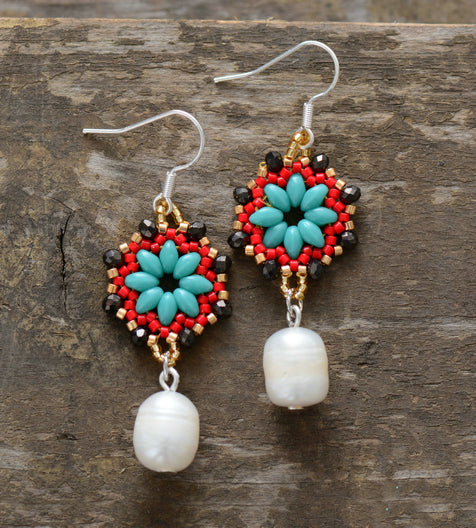 Pearl and seed bead earrings