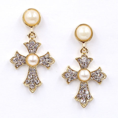 Sunshine Heart Cross Earrings