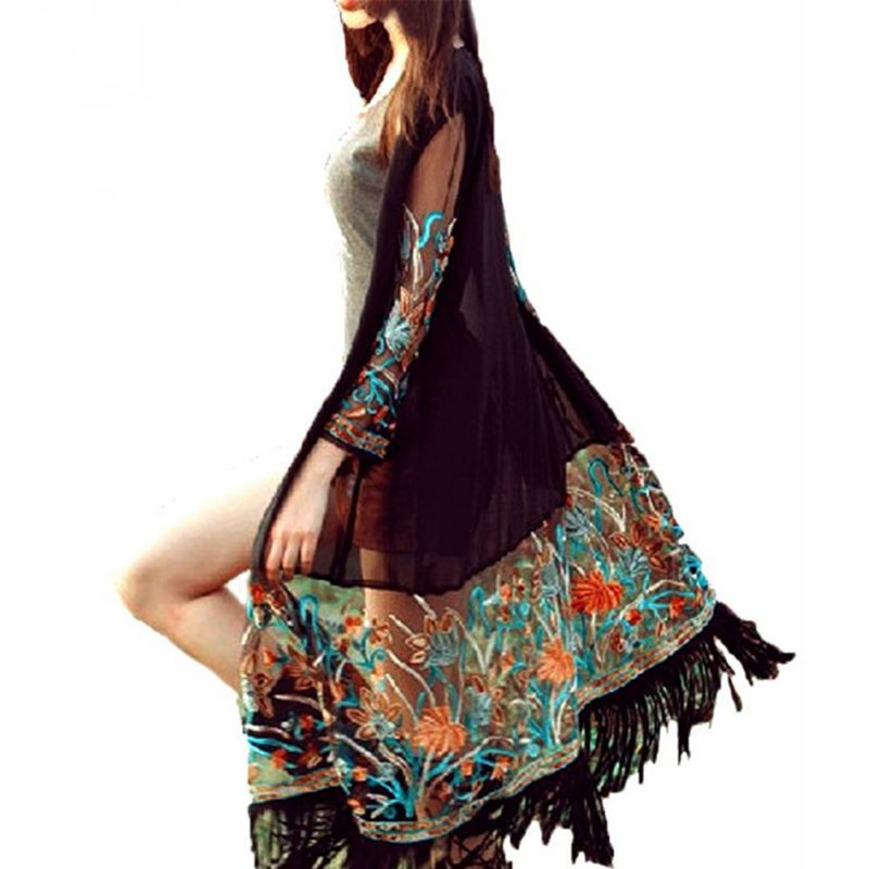 rayon, sheer construction with floral and fringe and an open front