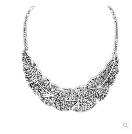 Leaves-Collar-Bone-Necklace-Chain-Silver