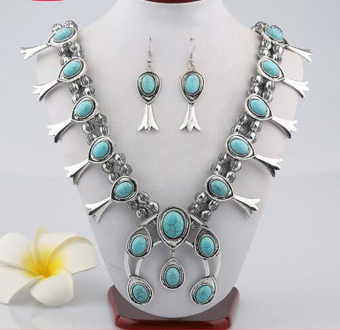Squash-blossom-Necklace-and-Earring-Set-Turquoise