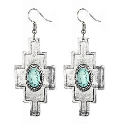 Large cross shaped silver and turquoise earrings