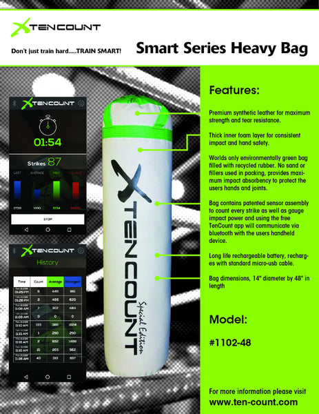 "Bluetooth Enabled White 48"" Heavy Bag"