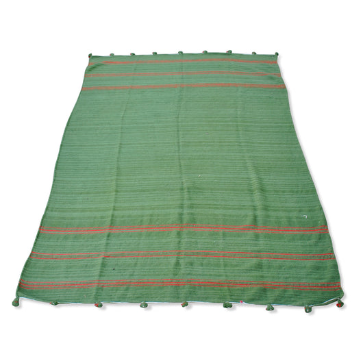 Green And Red Stripe Kilim Rug
