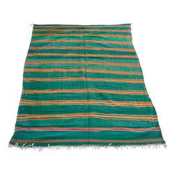 Green And Orange Stripe Kilim Rug